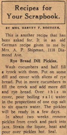 Rye Bread Dill Pickles – Vintage Recipe Clipping « RecipeCurio.com