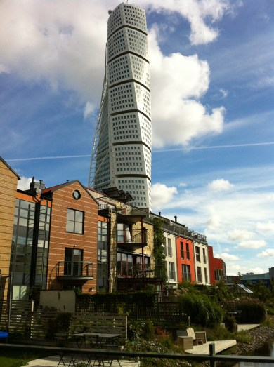 Eco living with the Turning Torso in the background.