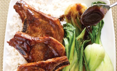 Cola-Glazed Pork Chops with Bok Choy and Sticky Rice