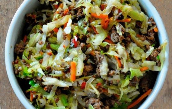 Asian Stir Fry Pork &Cabbage or Egg Roll in A Bowl