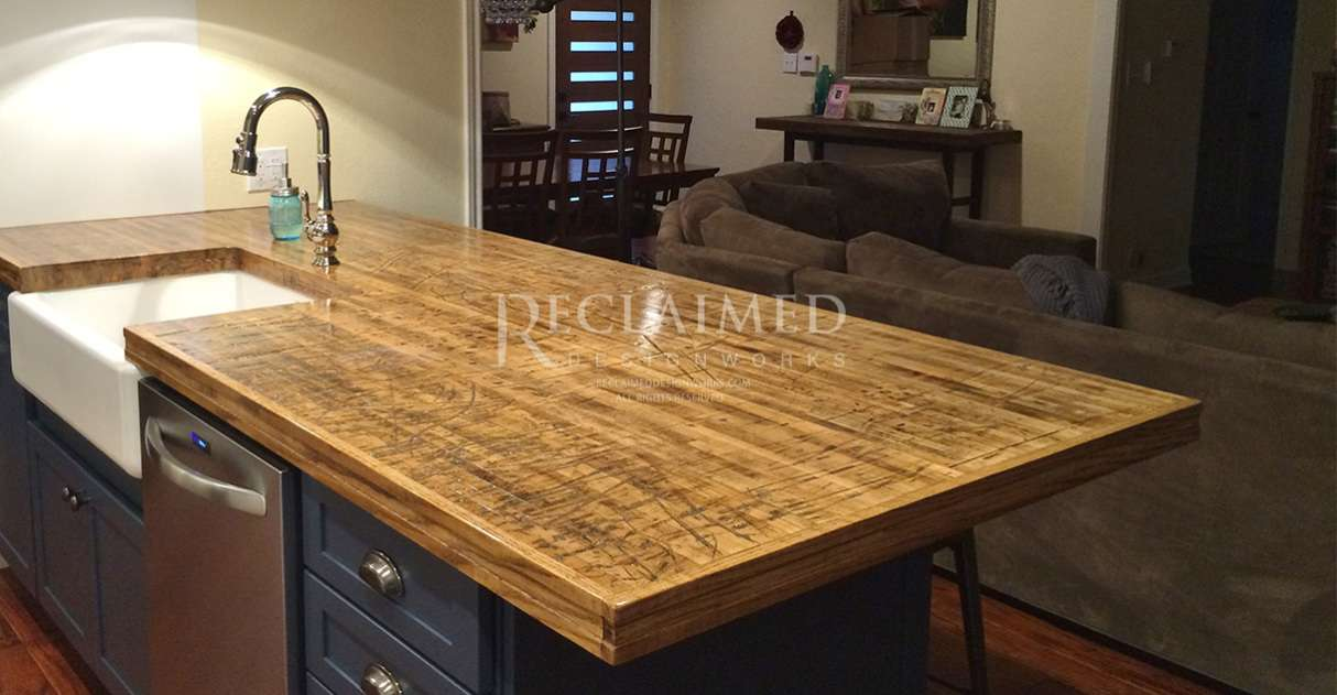 Table Island Kitchen Reclaimed Boxcar Plank Flooring | Reclaimed Designworks