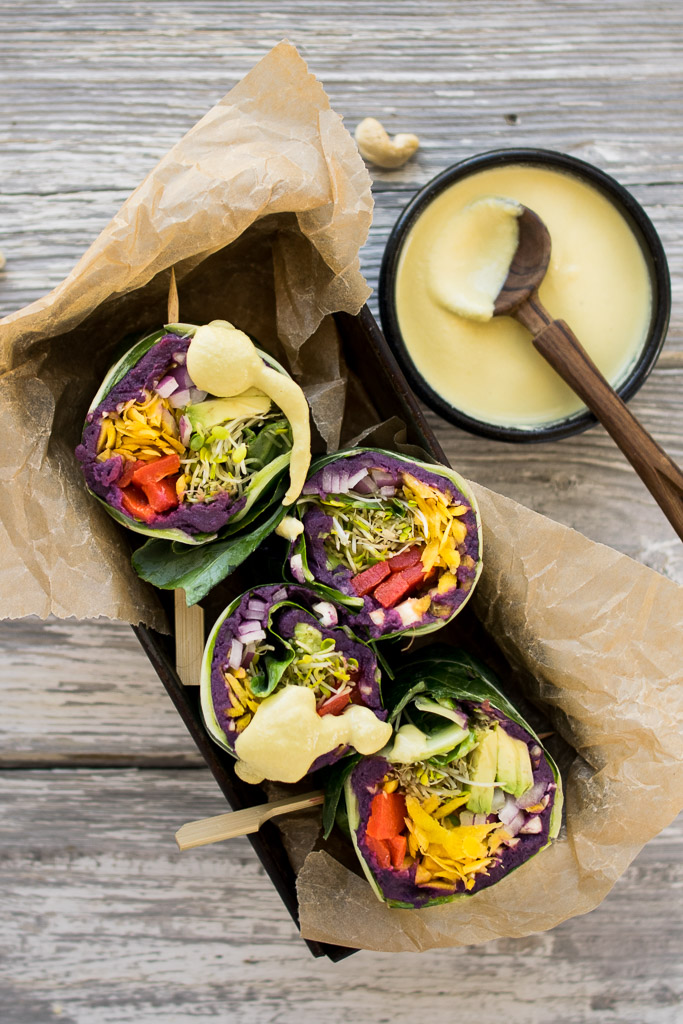 Purple Sweet Potato Collard Wraps with Cashew Honey Mustard