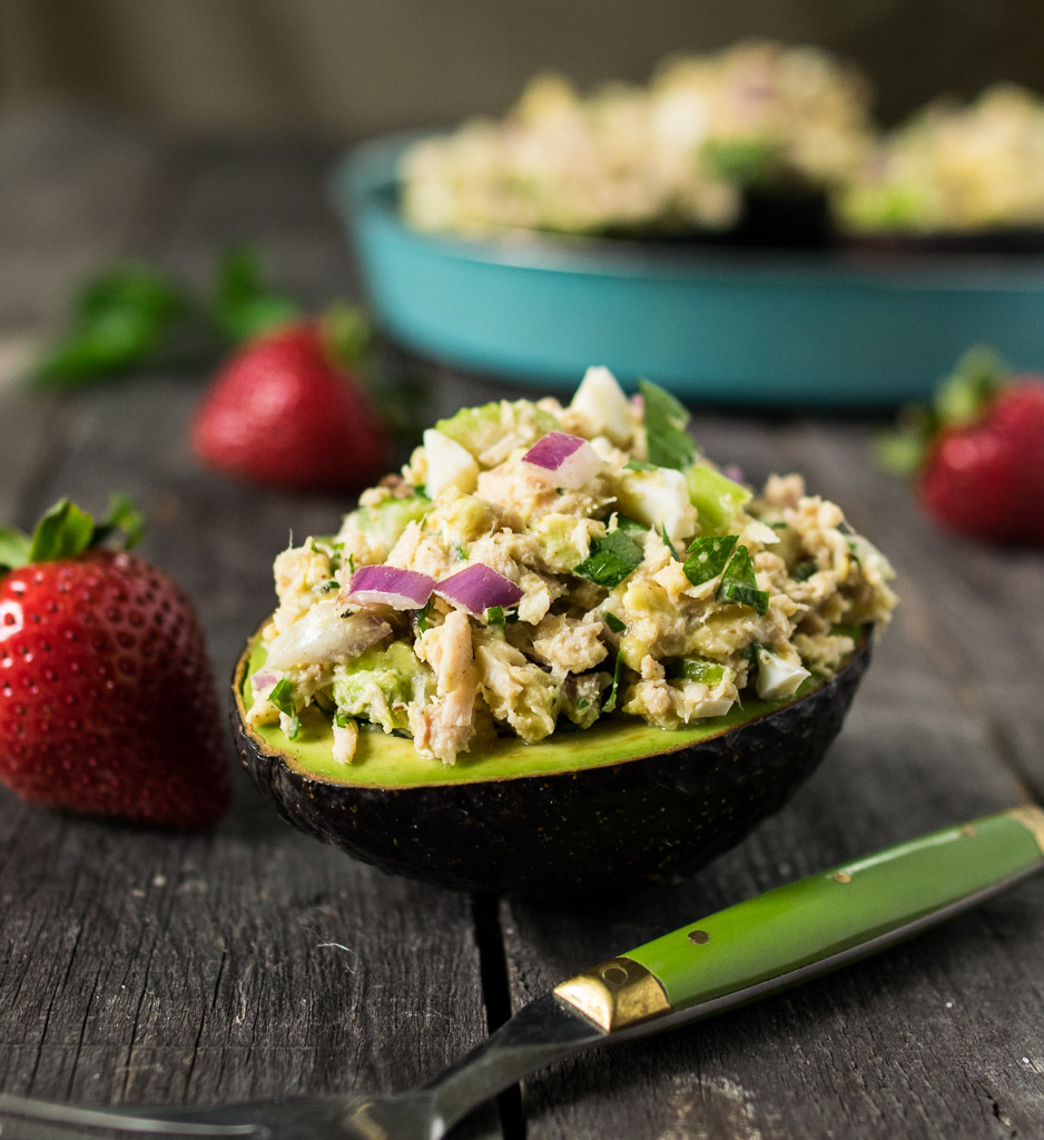Tahini Tuna Salad Stuffed Avocados | Reclaiming ...