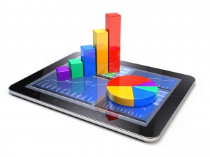 Bar graph and pie chart on tablet pc - Business statistic concept