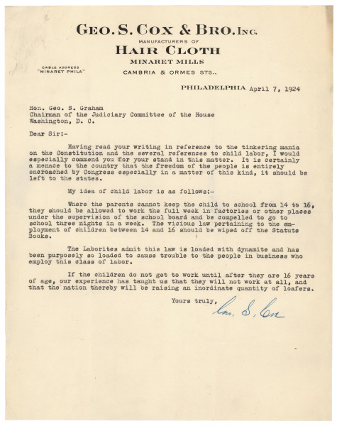 Letter opposing child labor laws, 1924 Records of Rights - child letter