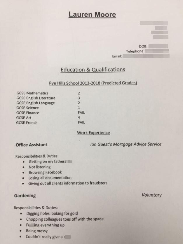 Dad writes brutally honest CV for his daughter ahead of GCSE results