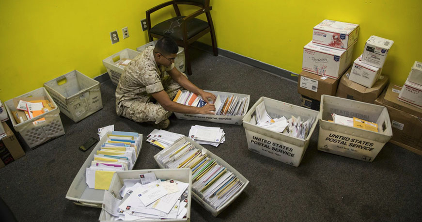 Addressing Letters to Recruits at USMC Boot Camp