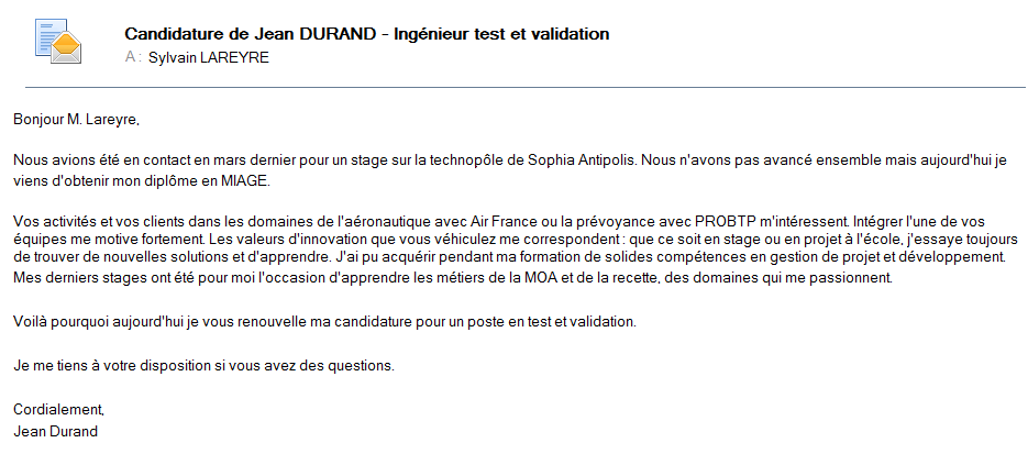 comment postuler un cv par mail message exemple