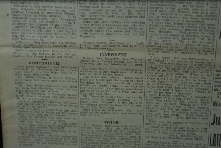 Les nouvelles locales, notamment sur Inverness