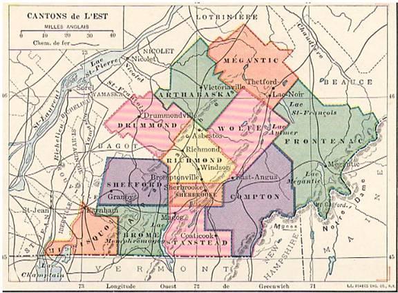 Carte des Cantons-de-l'Est, 1930