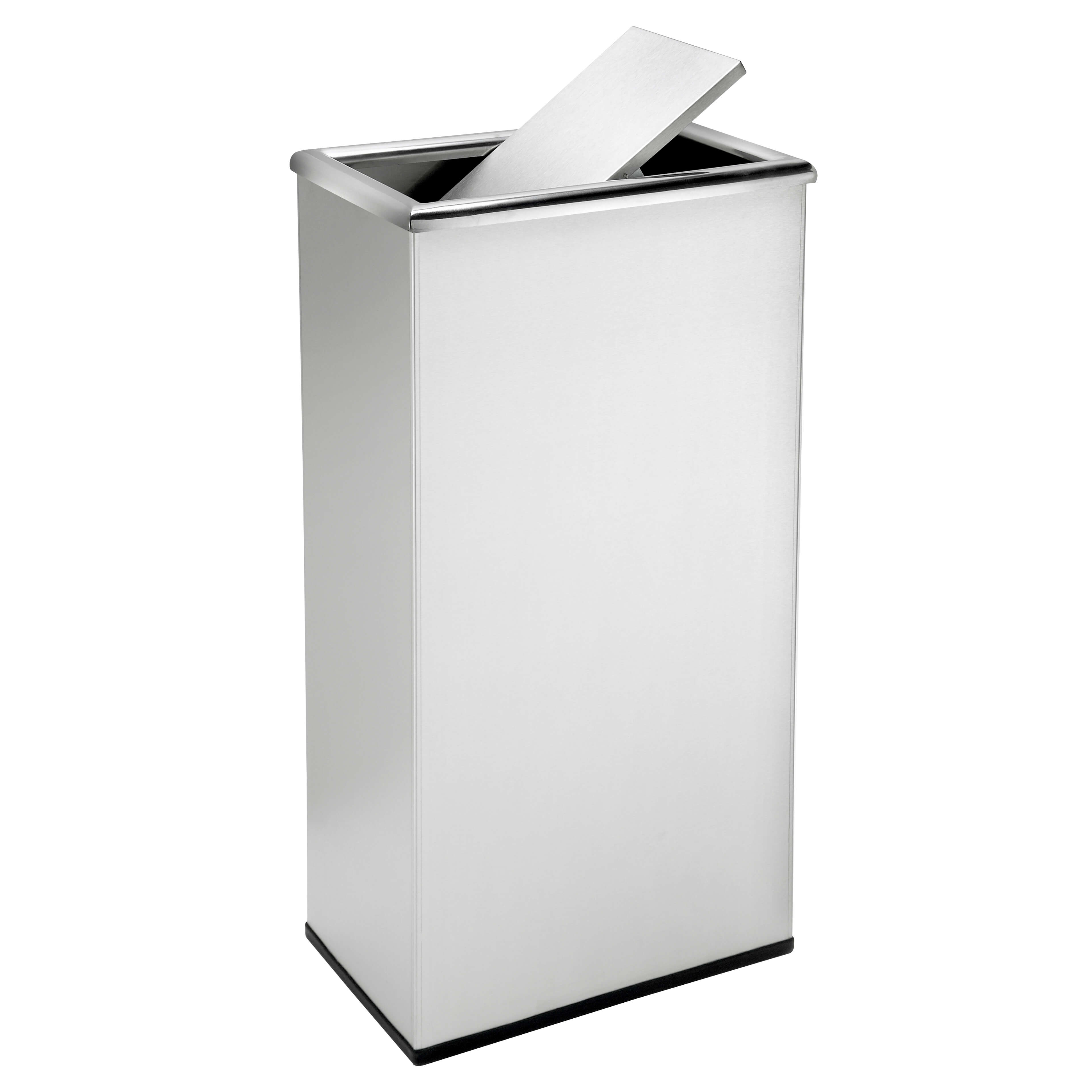 Stainless Steel Recycling Bins Rectangular Swivel Lid Waste Receptacle