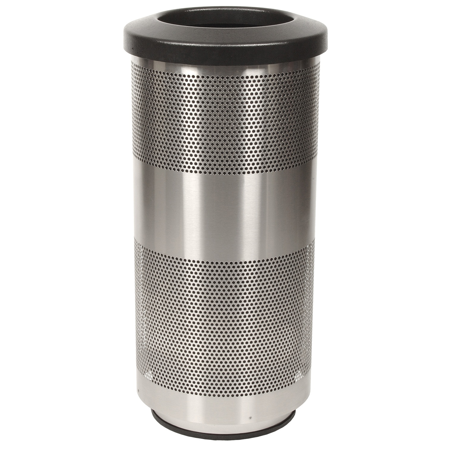 Elegant Trash Can Stadium 20 Gallon Perforated Waste Receptacle In Stainless Steel