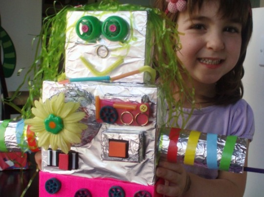 ... how to make recycled box robots over at the blog Cooking with my Kid