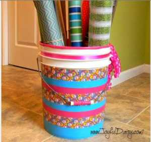 duct tape embellished bucket storage