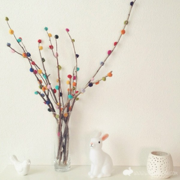 Branch And Pompom Decoration Recycled Crafts