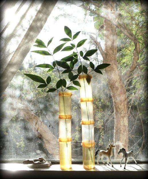 faux bamboo vase