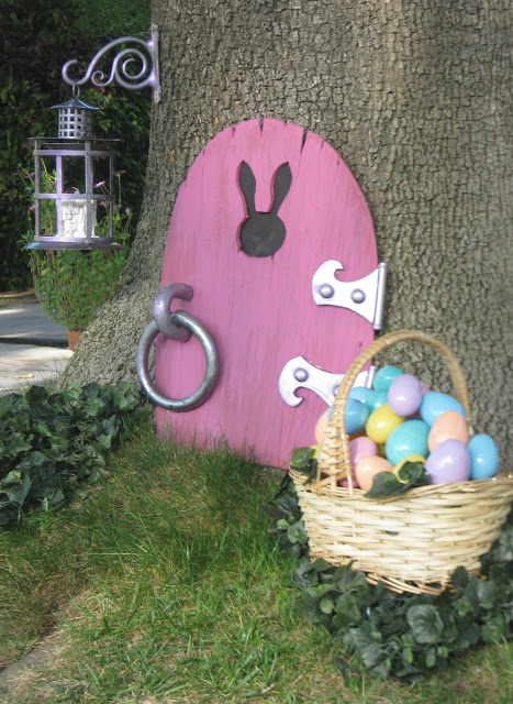 Easter bunny front door decoration and a
