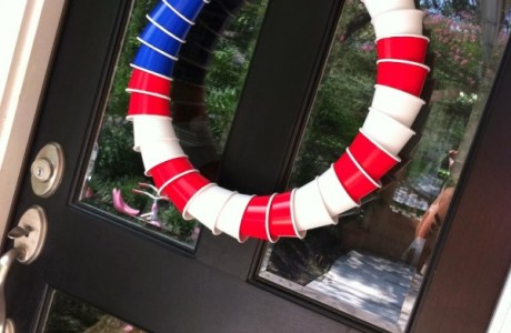 Red, white and blue Solo cup wreath