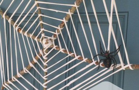 How to make a string and stick spider web