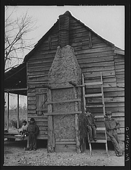 Mud chimney on home of Indian mixed breed brass ankles family near Summerville, South Carolina 2