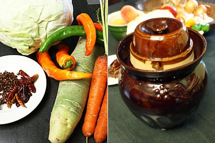 Making Sichuan pickles in a jar