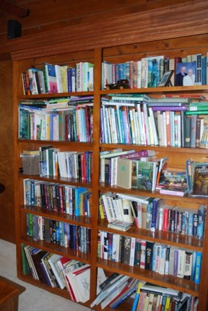 One of seven bookshelves in our house