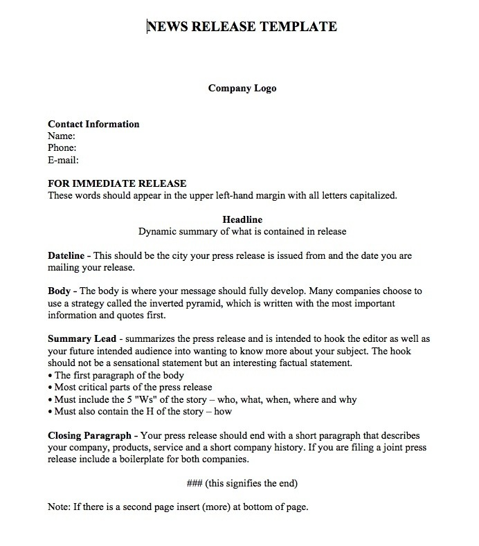 Press Release Template Word - 5+ Free Word Documents DownloadPress - press release template