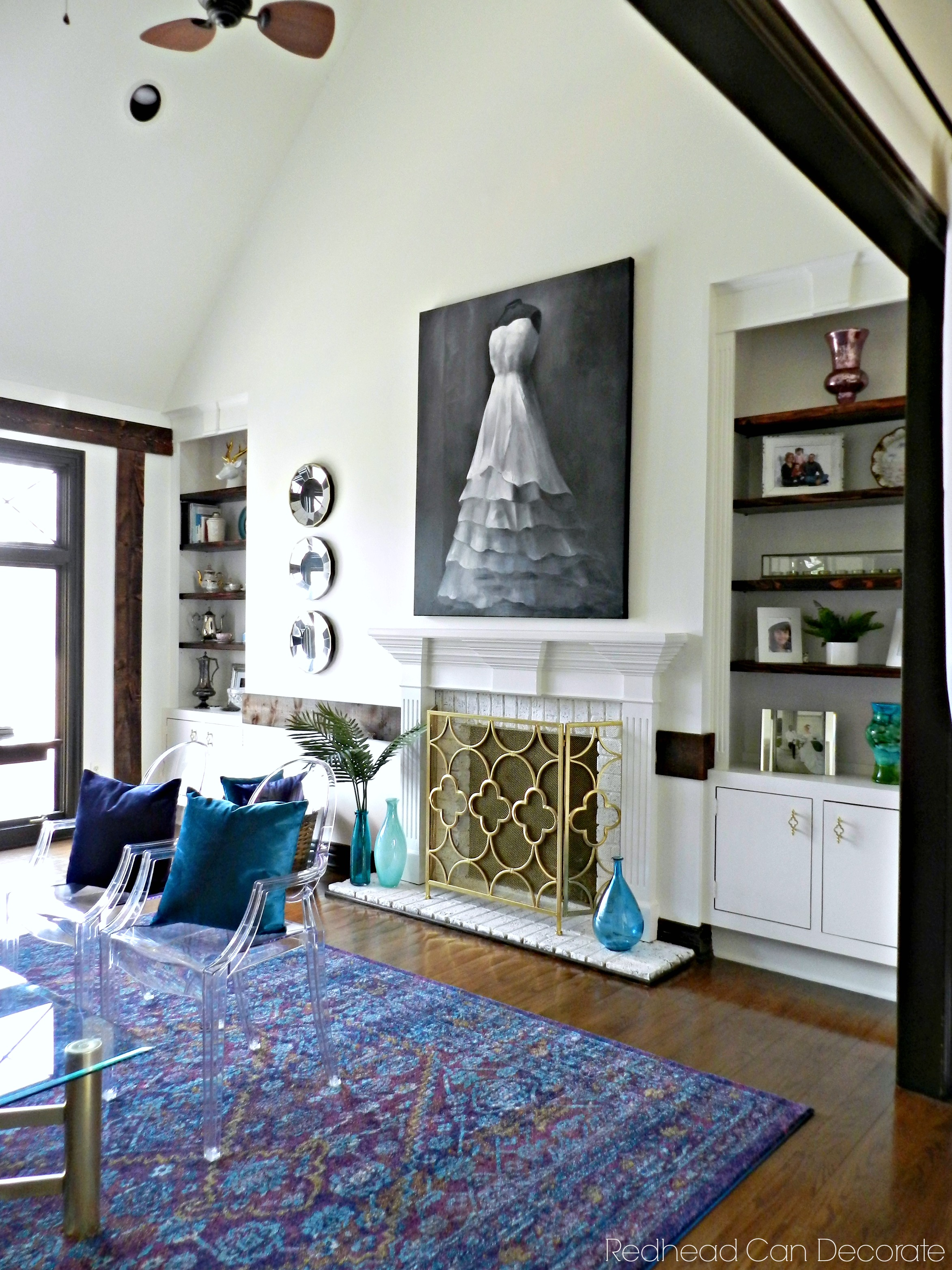 How To Decorate A Brick Fireplace Painted Built In Shelves Brick Fireplace Redhead Can Decorate