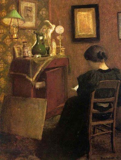 Mujer leyendo, Henri Matisse, 1984, óleo sobre lienzo. La etapa inicial de Matisse dista mucho de la fiereza cromática de su etapa fauvista.