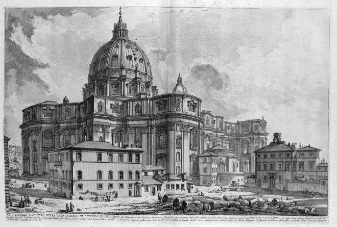San Pedro, en el Vaticano, vista por Piranesi