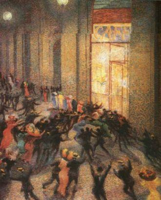 Tumulto en la galería, Umberto Boccioni, 1910, óleo sobre lienzo. Pinacoteca de Brera (Milán)