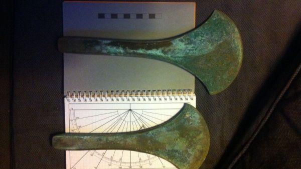 Hachas de la Edad del Bronce halladas en Dinamarca.