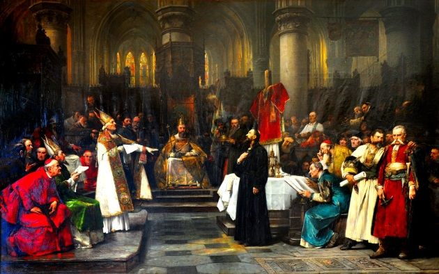 Jan Hus ante el Concilio de Constanza.