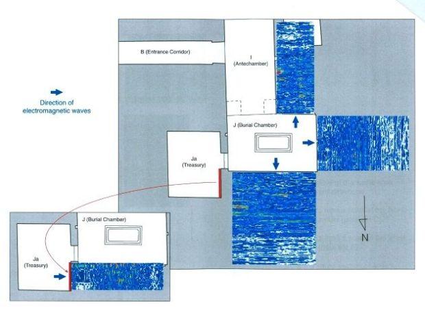 Plano de la tumba de Tutankamón en donde se muestran las paredes que ocultan las cámaras secretas. Crédito: Ministerio de Antigüedades.
