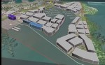 Toondah Towers from a flyover simulation prepared by Redlands2030 to help the community understand the scale of proposed development at Toondah Harbour
