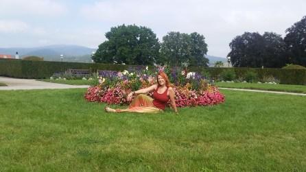 In the gardens above the castle in Cesky Krumlov, Czech Republic