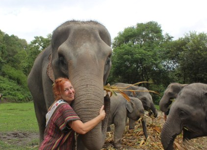 Playing with elephants in Thailand