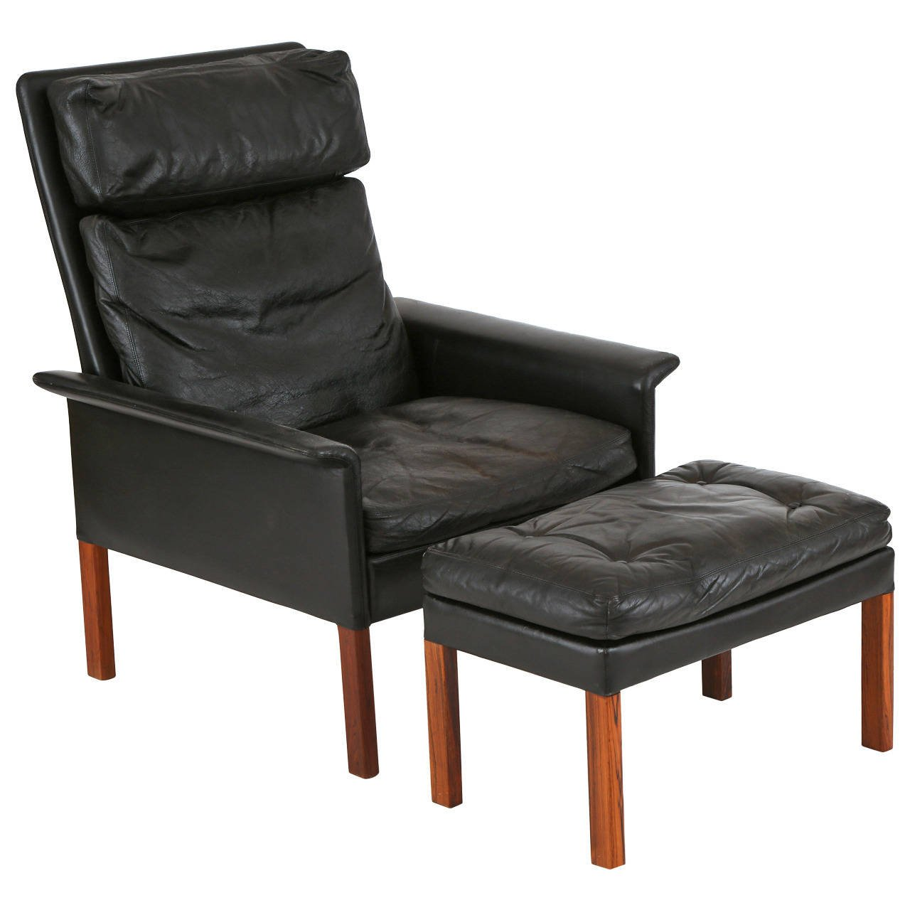 Leather Chairs And Ottomans Sale Hans Olsen Leather And Rosewood Lounge Chair And Ottoman