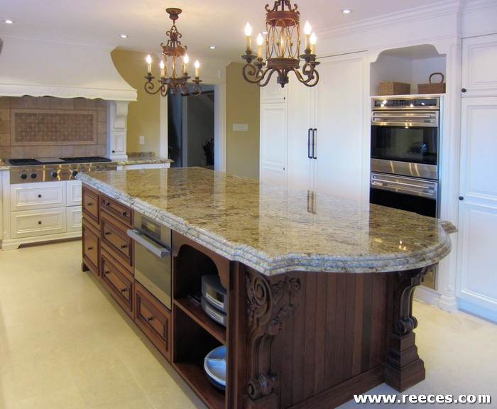 Kitchen Cabinets Newmarket Contrasting Island With Oven, Storage And Elaborate Detailing