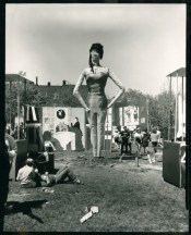 Giant student-made Playboy bunny who was planted in front of the Playboy Club booth. Taken at the Brooklyn College Country Fair, (source: http://bit.ly/1dR26qB1966)