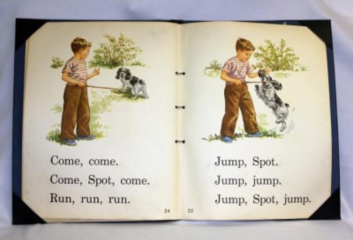 Spot from the Dick and Jane book series that taught children to read from the 1930s through the 1960s. (credit: http://history.idaho.gov/images/book)