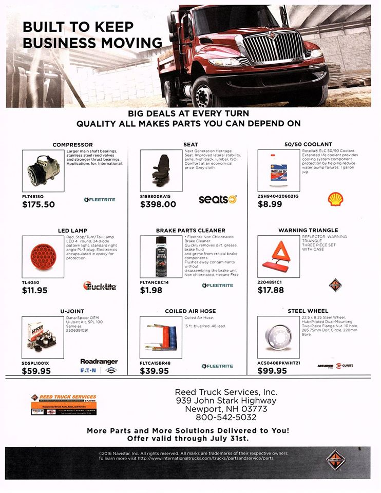 Reed Truck Services - Parts Sale Flier Exp July 31st, 2016