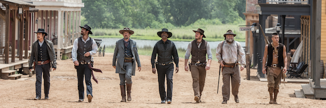 "Byung-hun Lee (from left), Manuel Garcia-Rulfo, Ethan Hawke, Denzel Washington, Chris Pratt, Vincent D'Onofrio and Martin Sensmeier in ""The Magnificent Seven."""