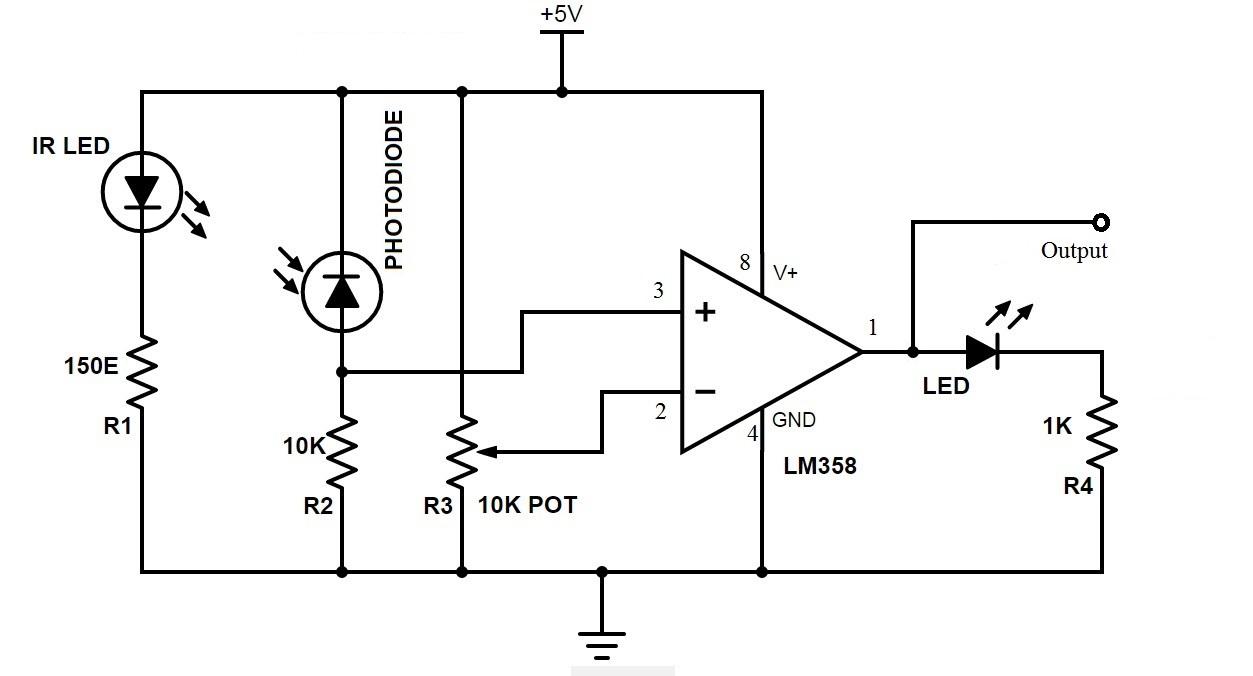 proximity sensor using ic lm339 circuit diagram for line follower