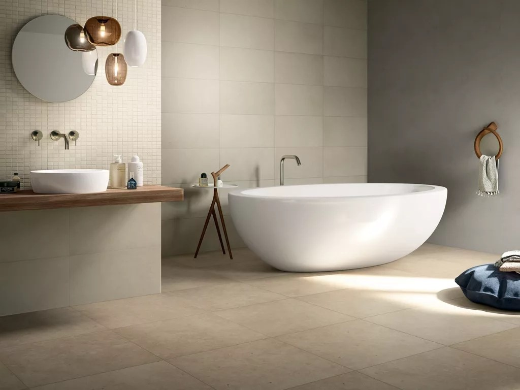 Ceramic Tile Bathroom Natural Stone Effect Porcelain Tiles Pietre Di Borgogna