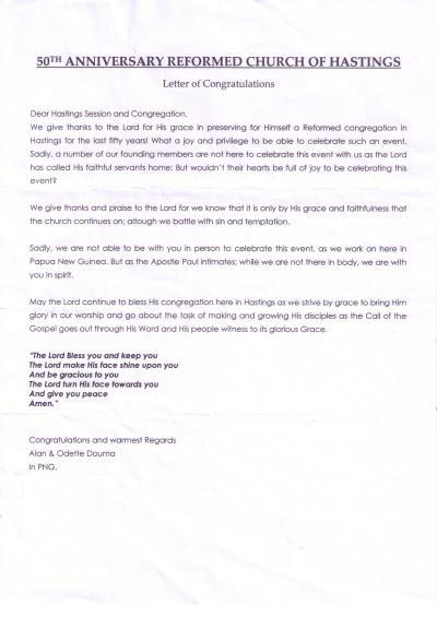 Church Anniversary Congratulations Letter Sample
