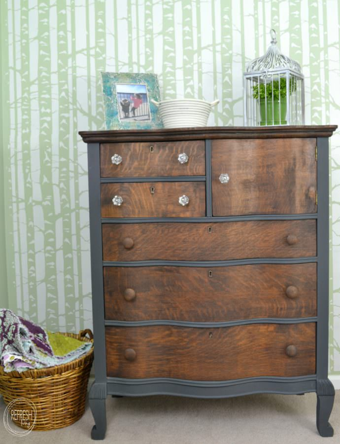 Dark Gray Dresser Oak Antique Dresser With Grey Paint And Wood Stain