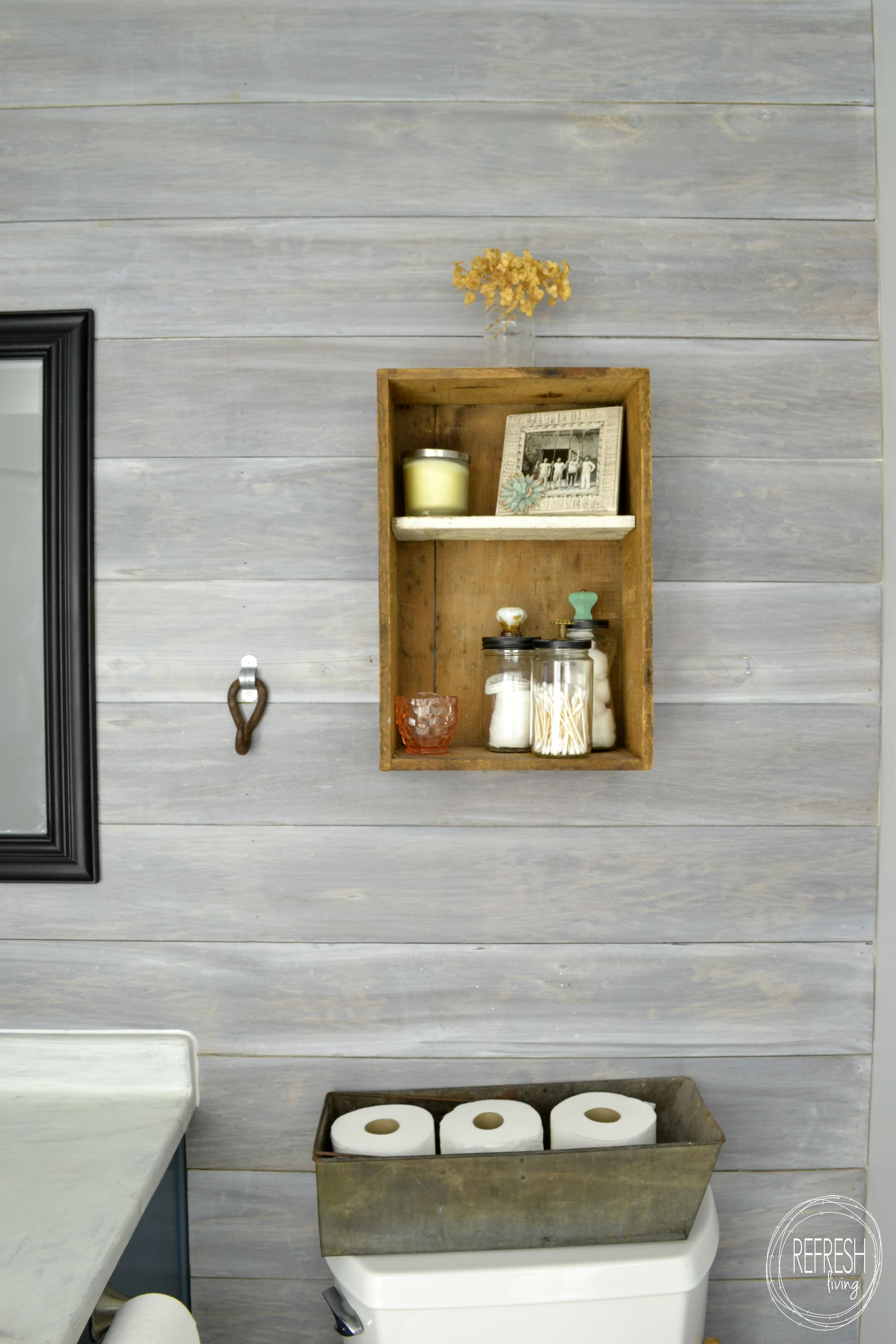 Whitewash Bathroom Vanity Budget Renovation: Install Your Own Planked Wall - Refresh