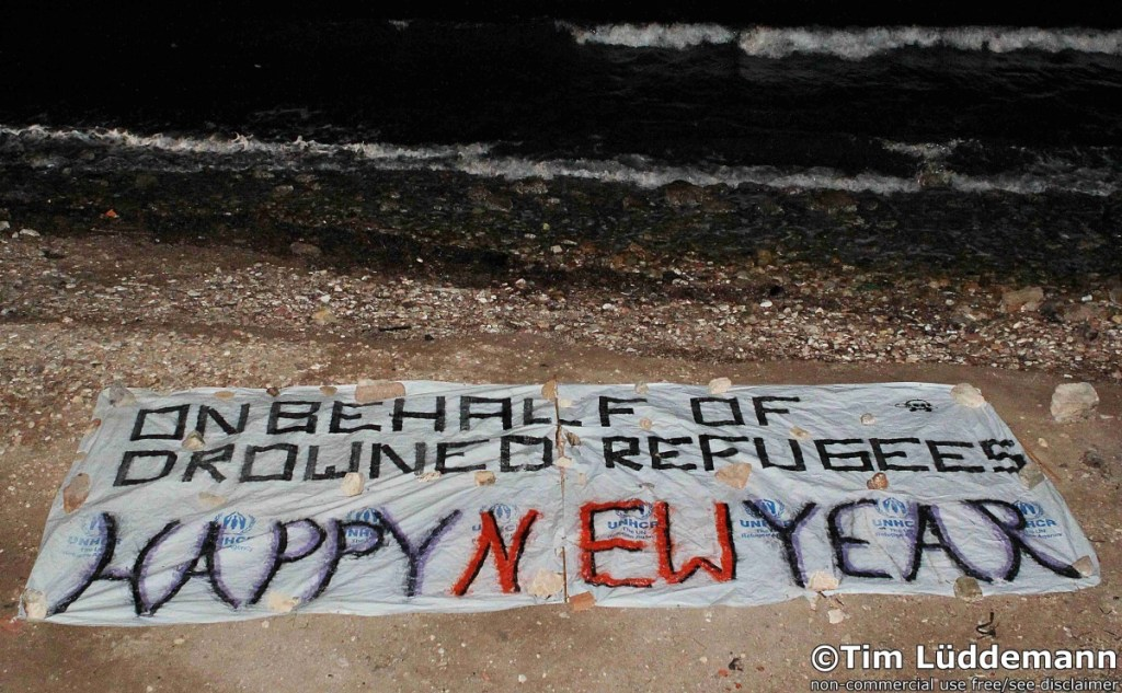 "Slightly cynical Christmas greeting from volunteers on Chios: ""on the drowned refugees - happy new year"""