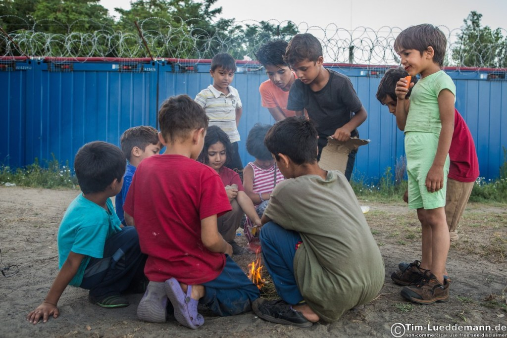 Children with a small Campfire before the Hungarian border plants sell the time